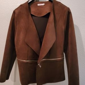 JustFab brown faux suede blazer in XXL